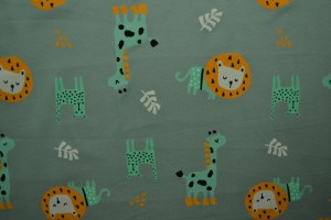 Cotton jersey print - wow 06-34 oud groen