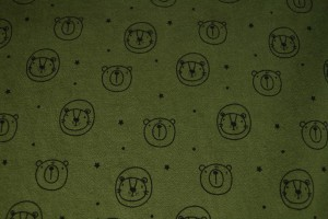 Cotton washed print w03-33 mosgroen