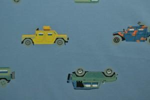 Cotton jersey print - wow 68-138 staalblauw