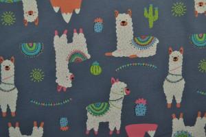 Cotton jersey print - wow 65-17 donkergrijs
