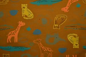 Cotton jersey print - wow 64-44 donker okergeel