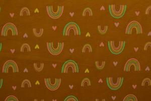Cotton jersey print - wow 58-44 donker okergeel