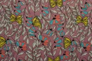 Cotton jersey print - wow 53-38 donker oud roze